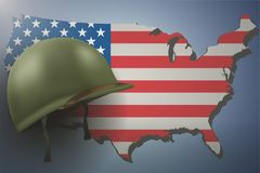American Flag and Military Helmet. Military helmet on the background of the US flag and American continent. Veterans day Poster of WWII or modern wars. Vector Royalty Free Stock Photography