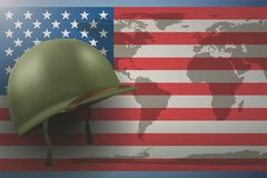 American Flag and Military Helmet. Military helmet on the background of the American flag with world map. Veterans day Poster of WWII or modern wars. Vector Stock Photo