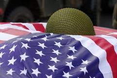 American flag with military helmet Stock Photos