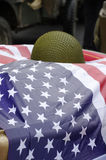 American flag with military helmet World War II Stock Photography