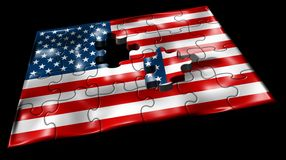 American Flag Missed Puzzle. / Hight Quality Stock Photography