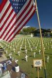 American flag at mock cemetery honoring 1500+ Iraqi servicemen killed in Iraq War, Ventura California stock images