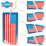 American flag modern tags and sticker. Vector illustrations of detailed American flag tags (retail or info) in different shapes (simple, waves, badges) and an Stock Image