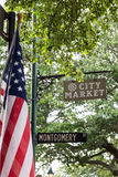 American Flag on Montogonery Street in City Park Savannah. An American flag under trees on Montgomery Street in City Market in Savannah, Georgia Royalty Free Stock Image