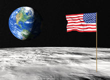 American flag on the moon Royalty Free Stock Photography
