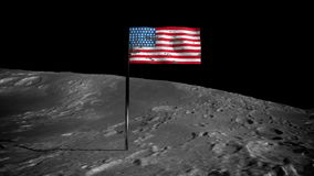 American flag on the moon. Space view stock video