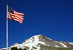 American Flag Mount Hood Royalty Free Stock Photo