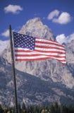 American Flag with Mountains, Grand Teton National Park, Wyoming royalty free stock photo