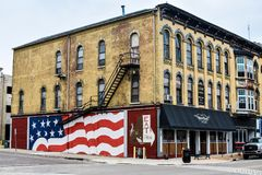 American Flag Mural Janesville, WI royalty free stock image