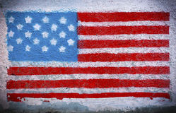 American flag mural. American flag painted on a wall Royalty Free Stock Photo
