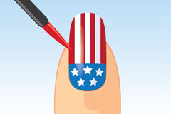 American flag nail painting Stock Image