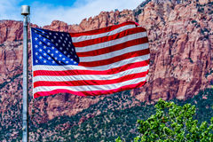 American Flag in National Park, USA. stock photo