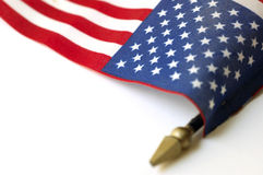 American Flag National Symbol. Close up photo of American flag on plastic stick Royalty Free Stock Photography