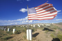 American flag at the Navaho cemetery Royalty Free Stock Photography