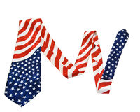 American flag necktie isolated on white Royalty Free Stock Image