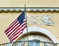 American flag  in old building Stock Images