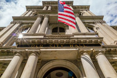 American flag on the Old City Hall building in Boston Royalty Free Stock Photo