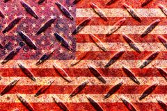 American flag on the old metal plate Royalty Free Stock Photos