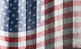 American flag on old wood background stock photos