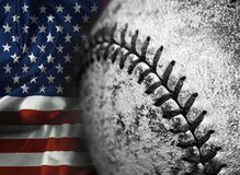 American Flag Old Worn Baseball Texture Leather Game Sports Competition
