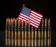 American Flag onto of ammo Stock Images