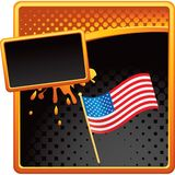 American flag on orange and black halftone ad Royalty Free Stock Photo