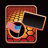 American flag on orange hexagon advertisement Royalty Free Stock Images