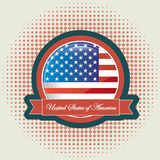 American flag. Over dotted background vector illustration Royalty Free Illustration