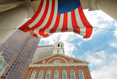 American Flag over Faneuil Hall Royalty Free Stock Photography