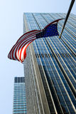 American flag over Manhattan royalty free stock photography