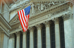 American Flag over New York Stock Exchange Stock Photography