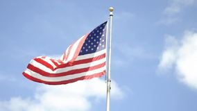 American Flag over the Sky in New York City stock footage