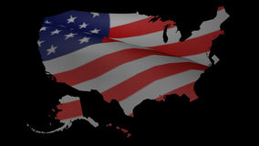 American Flag Over US Map stock video footage