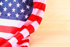American Flag Over Whitewashed Wood Background For United States Holidays. American Flag Over Whitewashed Wood Background For United States Holidays stock photo