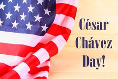 American Flag Over Whitewashed Wood Background For United States Holidays. Cesar Chavez Day. American Flag Over Whitewashed Wood Background For United States royalty free stock photo