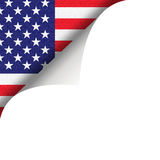 American flag and page curl. American flag revealed by turn of white page with copy space Royalty Free Stock Photography