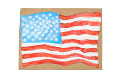 American Flag painted on paper Royalty Free Stock Photos