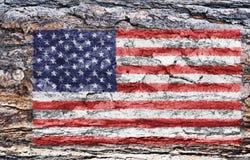 American flag painted on tree back