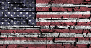 American flag painting on high detail of old brick wall . 3D illustration Royalty Free Stock Photo