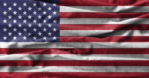 American flag painting on high detail of wave cotton fabrics . 3D illustration Stock Photography