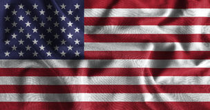 American flag painting on high detail of wave cotton fabrics . 3D illustration Stock Photos