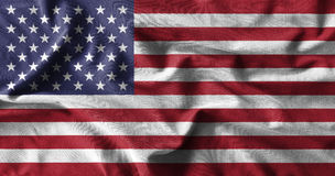 American flag painting on high detail of wave cotton fabrics . 3D illustration Royalty Free Stock Photography