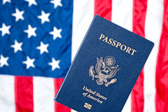 American flag and passport Stock Image