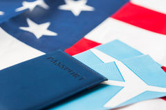 American flag, passport and air tickets Royalty Free Stock Image