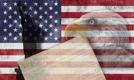 American flag and patriotic symbols Stock Images