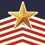 American flag pattern background with star icon