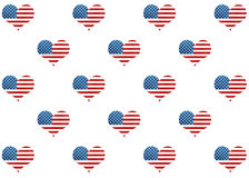 American flag pattern with hearts. Royalty Free Stock Image
