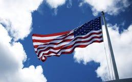 American flag, Pearl Harbor, HI. Flag found over USS Arizona Memorial in Pearl Harbor Bay, Hawaii stock photos