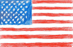 American flag, pencil drawing illustration kid style Stock Photography