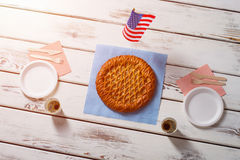 American flag, pie and drinks. Royalty Free Stock Photo